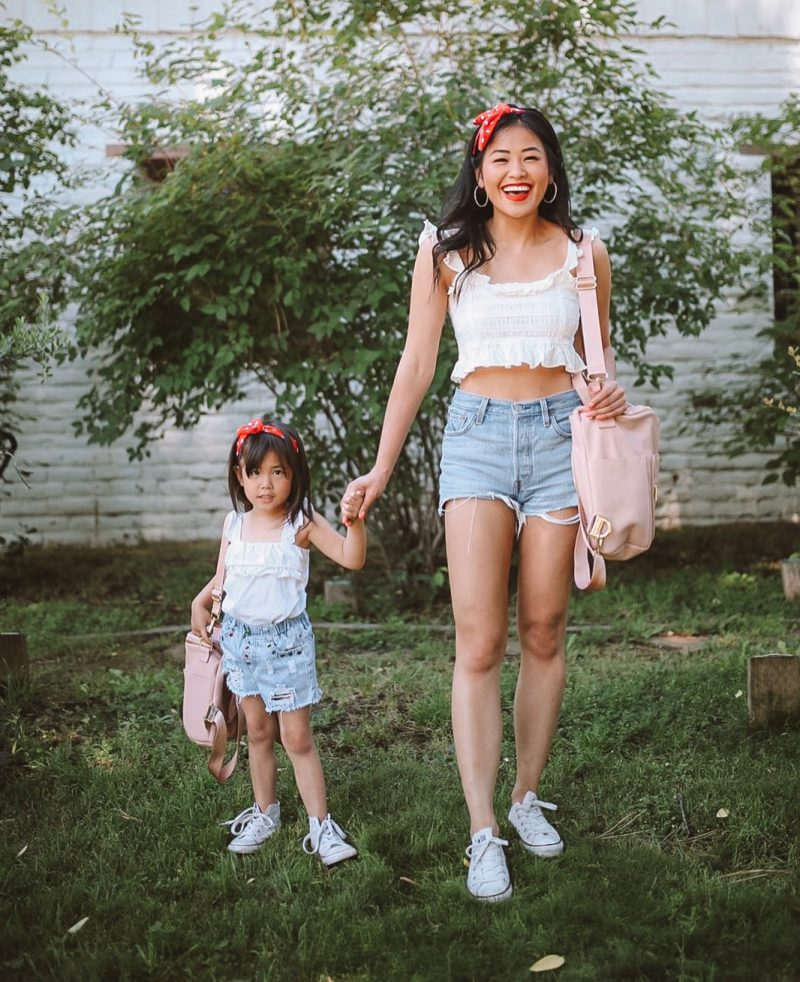 mommy and me photos twinning outfits red white and blue