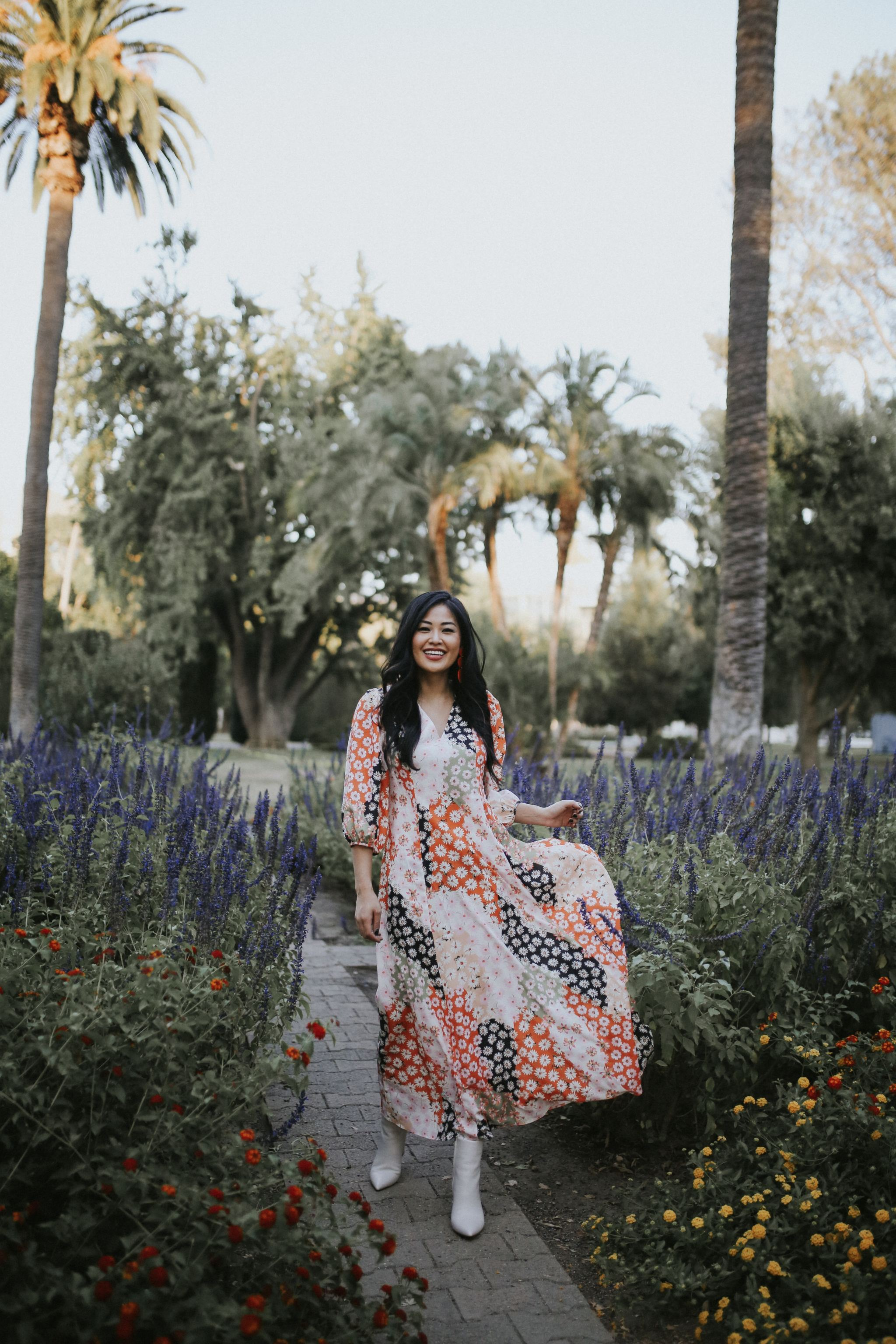 colorful maxi dress white booties fall outfit dress