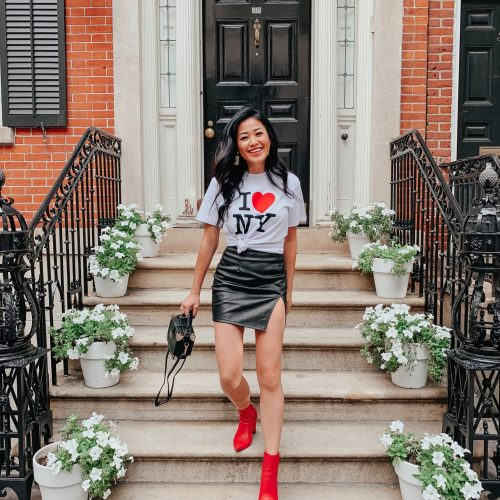 faux leather skirt red booties I love NYC tshirt NYFW street style