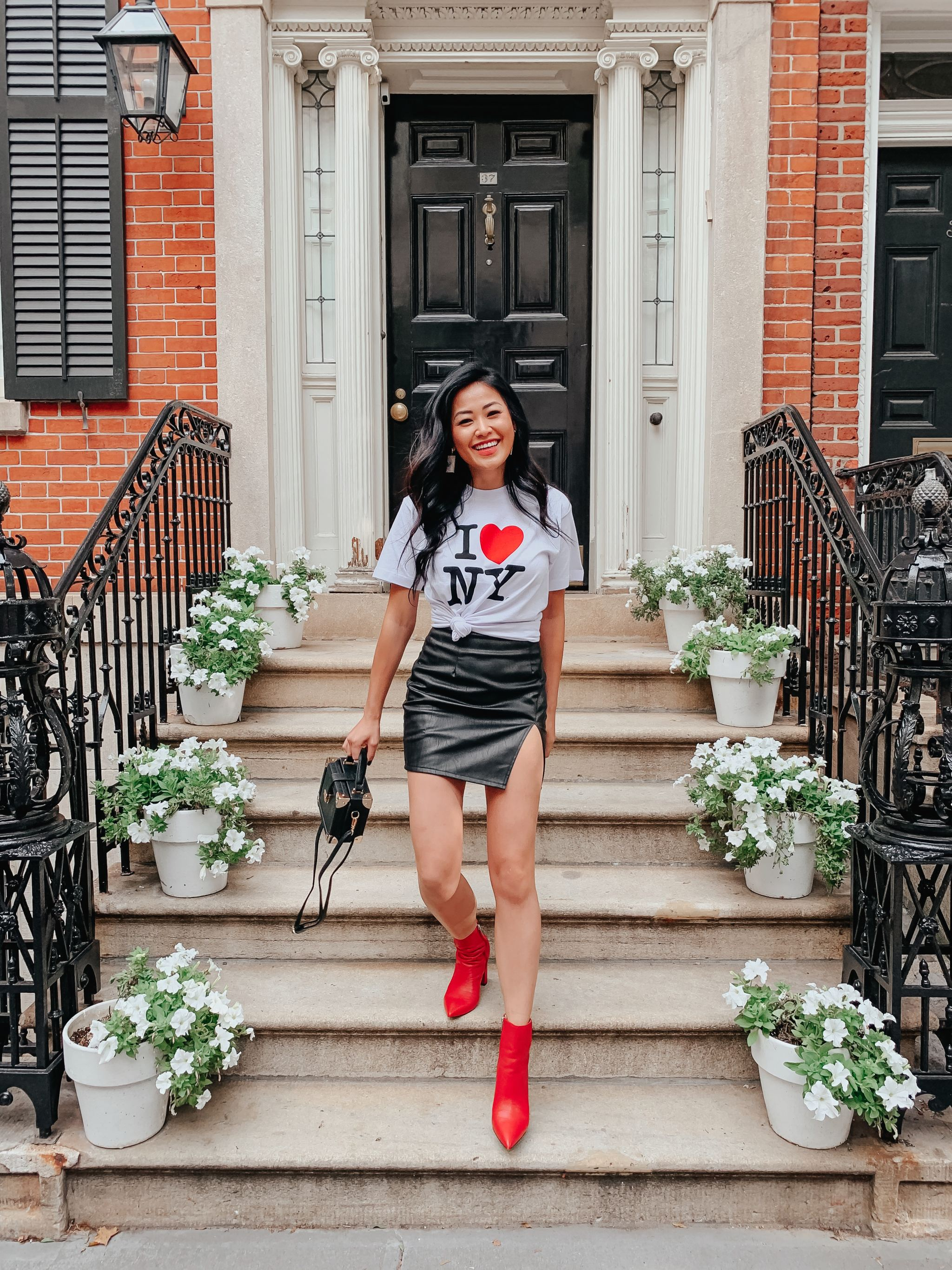NYFW street style I LOVE NYC t-shirt leather mini skirt red booties