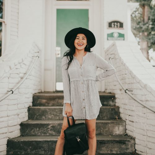 "alt=""piecesofemerald.com babydoll long sleeve dress black booties black suede hat black backpack sacramento photo"""