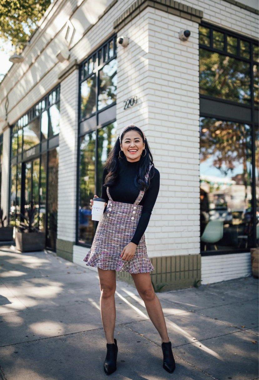 """alt=""""piecesofemerald.com womens suspender dress fall outfit sacramento photo vince camuto black booties"""""""