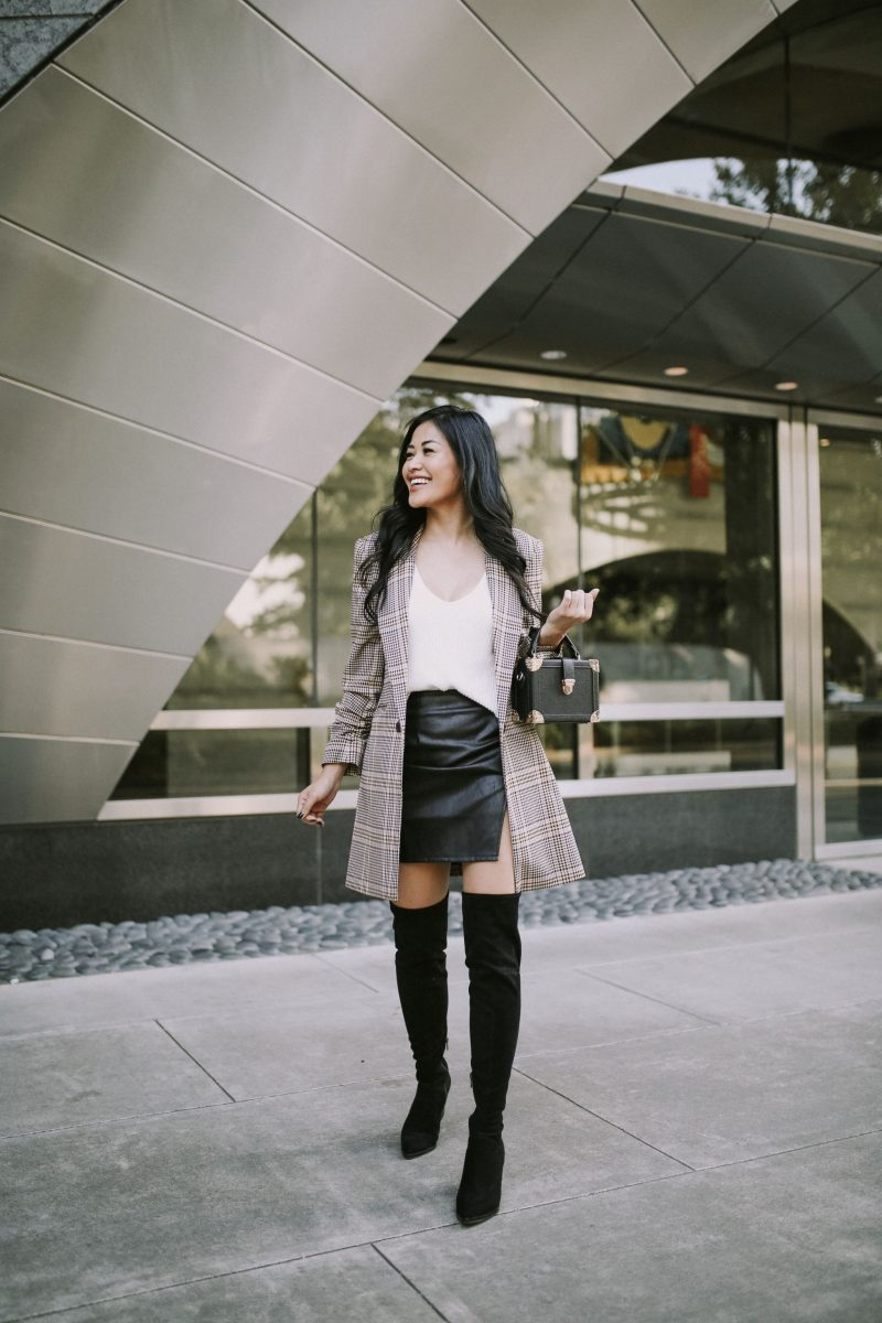 plaid blazer with over the knee boots