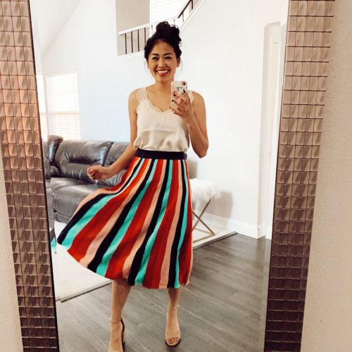 Colorful Midi Skirt with Lace Tank Top