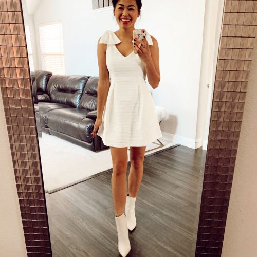 White Dress with White Leather Booties