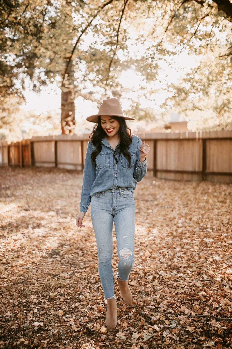 chambray top and denim skinny jeans