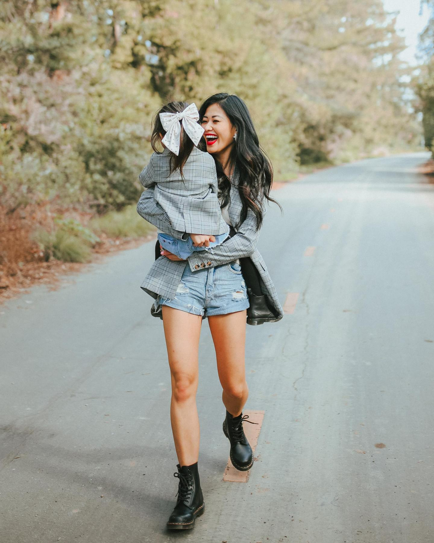 mommy-and-me-plaid-jacket-with-combat-boots